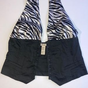 Forever 21 Zebra Halter Top | Fish Eye Front Clasp Sexy Corset Style | Large